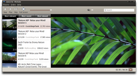 Minitube is a native YouTube client for Linux or Mac OS X